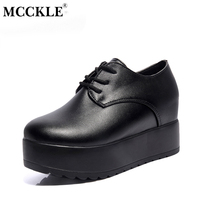 MCCKLE Fashion Creepers Auntumn Platform Shoes Women Lace Up Slip On Flats For Ladies Casual Female