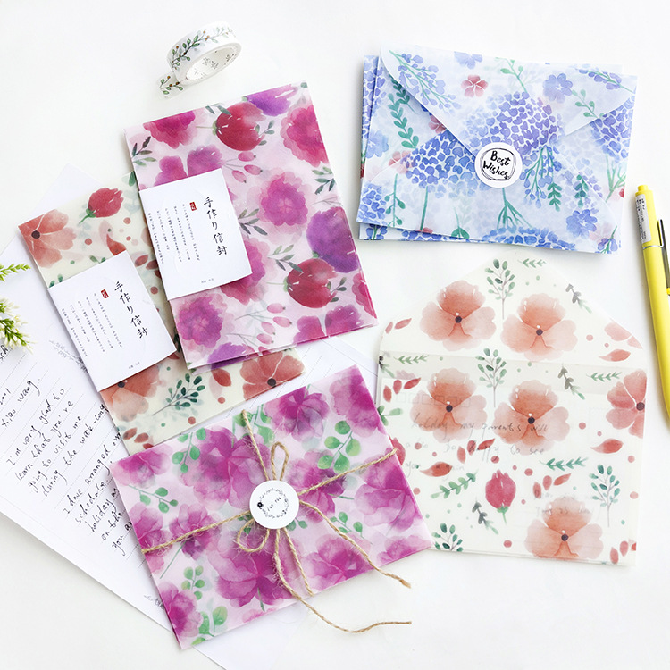 3 Pcs/pack Four Seasons Flowers Translucent Envelope Message Card Letter Stationary Storage Paper Gift