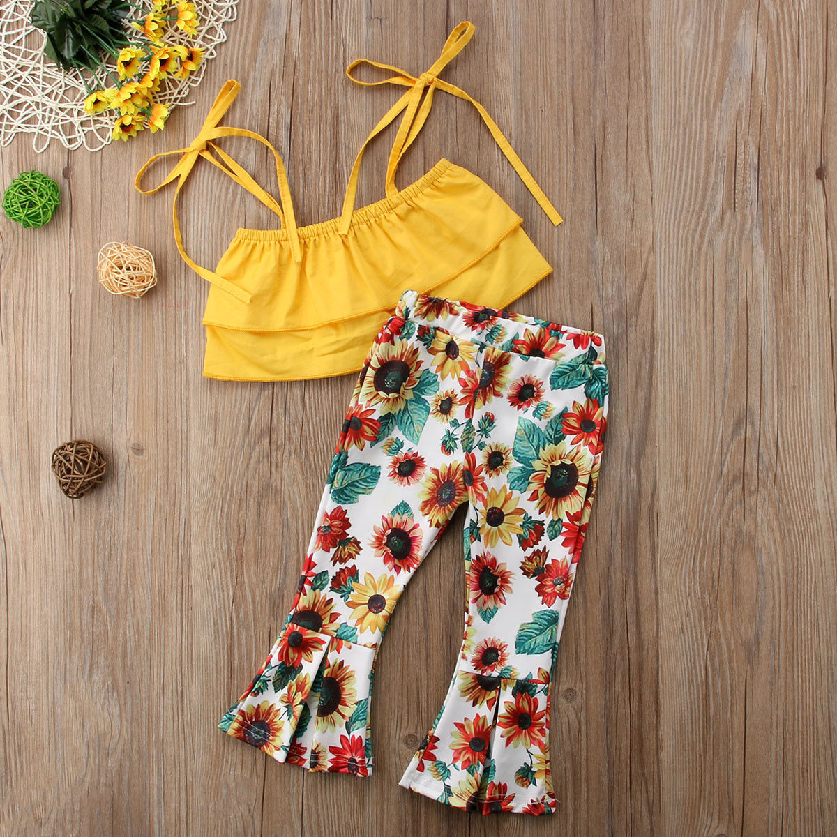 6117a61898e7a Summer Toddler Kids Baby Girl Sleeveless Layered Yellow Tank Tops+Sunflower Flared  Pant Bell bottom 2PCS Outfits Clothing Set-in Clothing Sets from Mother ...