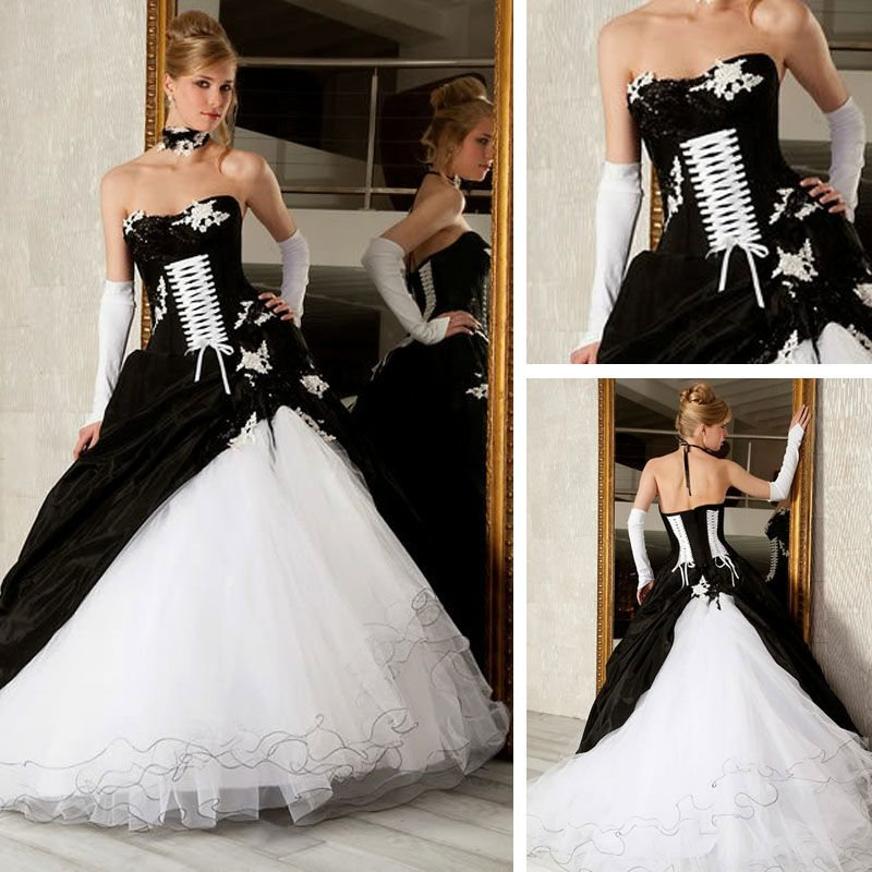 Black White New Long Quinceanera Dresses Gown Formal Occasion Prom