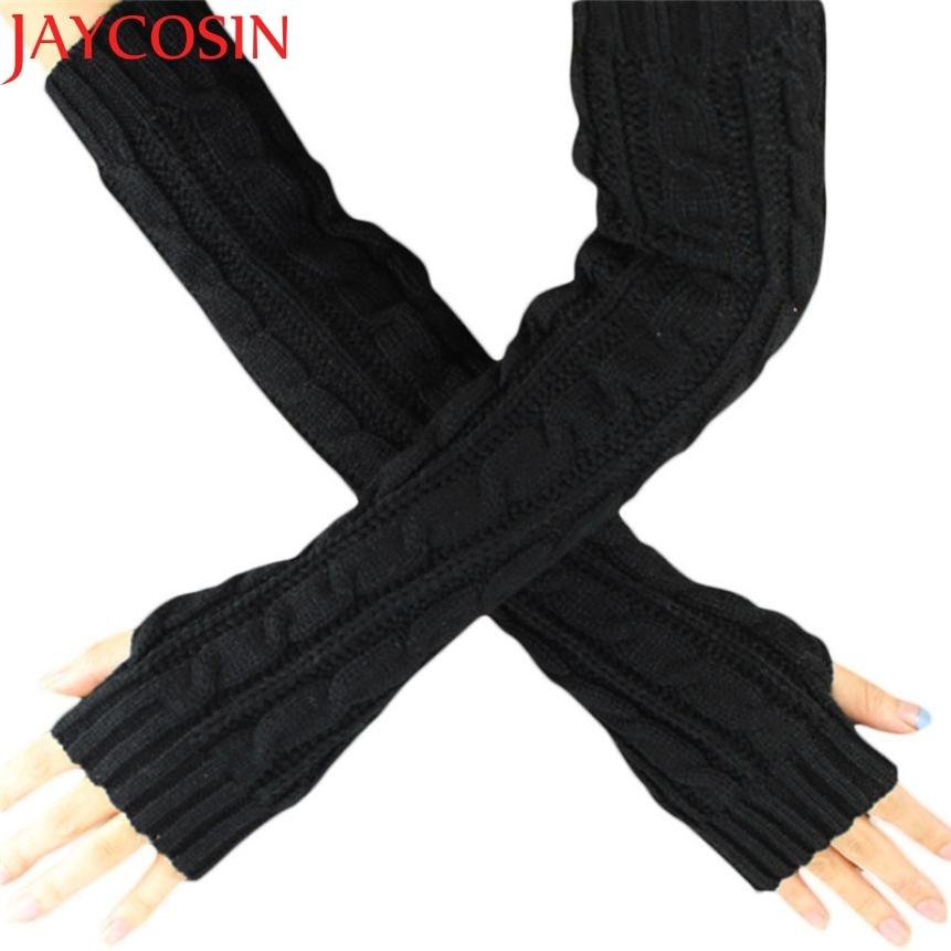 Hot Maketing 6 Colors Women Knitted Long Gloves Arm Warmers Female Gloves Winter Autumn Fingerless Gloves Mitten H19