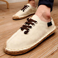 Men Loafers Handmade Fashion Flats 2017 Spring Summer Man Casual Shoes Vintage Breathable Straw Braid Male Canvas Shoes