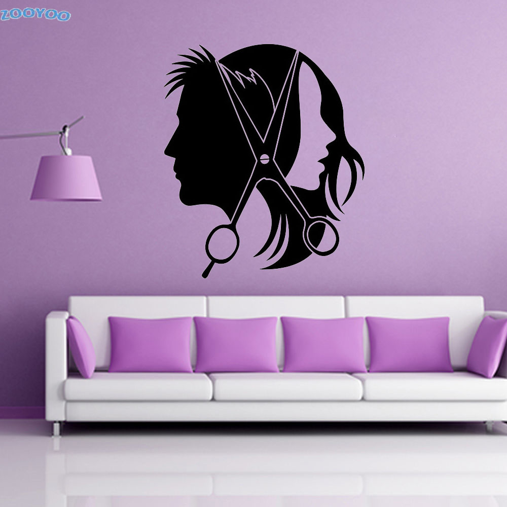 ZOOYOO Barbershop Hairdressing Wall Stickers Home Decor Beauty Salon Hair Cutting Vinyl  ...