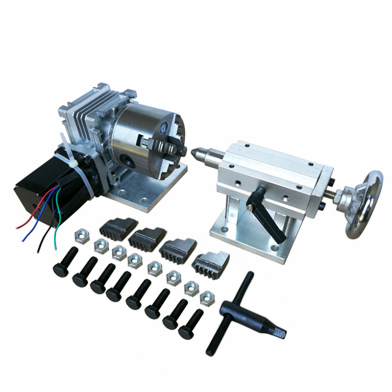 Rotary axis A axis 4th axis tailstock with 80mm 4-Jaw Chuck for wood/metal CNC Router milling machine CNC3040 6040 6090 2017 cnc router 6090 6040 5 axis cnc machine with rotary