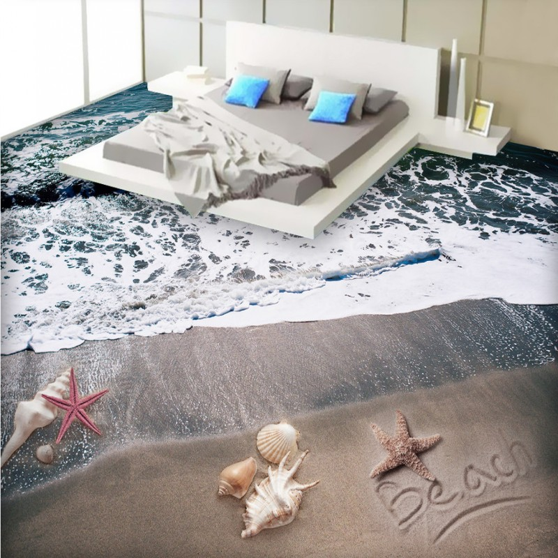 Free Shipping Romantic Beach 3D Floor mural living room office lobby aisle non-slip floor wallpaper free shipping beach spray 3d dolphin sea floor non slip living room wallpaper office decoration studio wallpaper mural