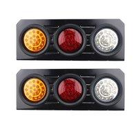1Pair New 12V 63 LEDs Waterproof Metal Frame Tail Stop Light Brake Lights Rear Indicator Light