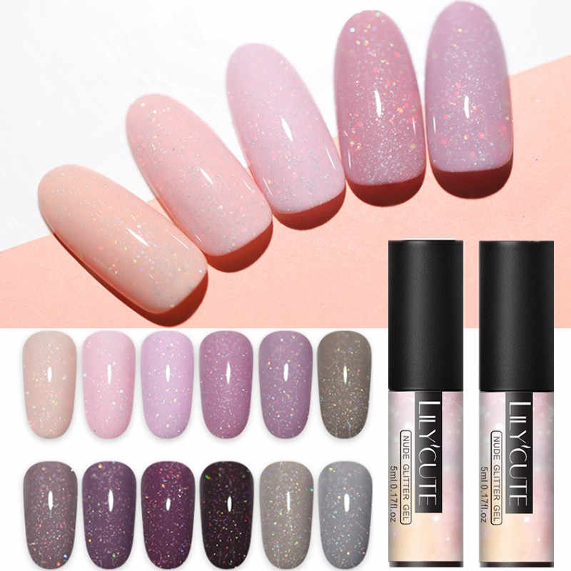 LILYCUTE 5ml Gel UV di Colore Olografico Glitter Paillettes Semi Permanente Soak Off Unghie artistiche Del Gel Smalto Per Unghie Manicure Design