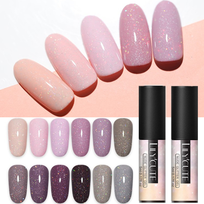 LILYCUTE 5ml  Color UV Gel Holographic Glitter Sequins Semi Permanent Soak Off Nail Art Gel Polish V