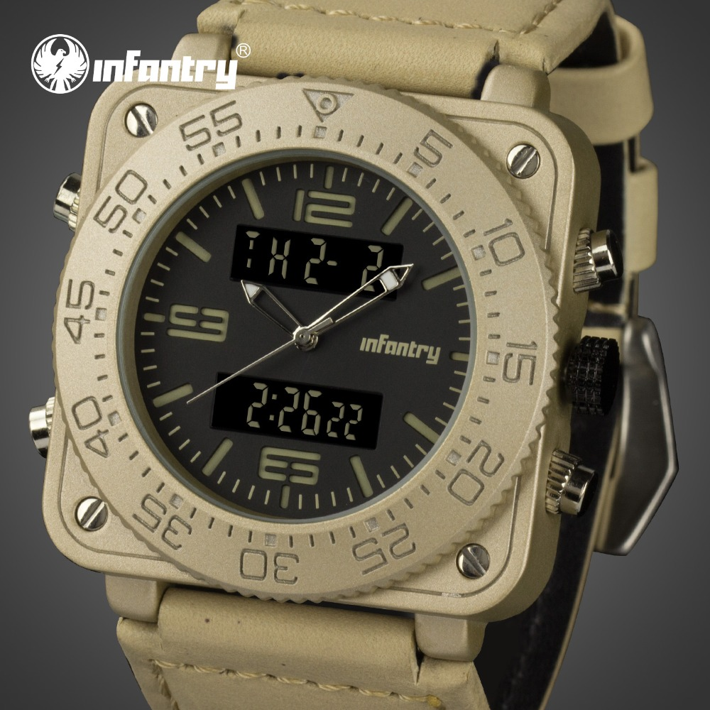 INFANTRY Mens Watches Top Brand Luxury 2018 Analog Digital Watch Men Military Tactical Watches for Men Leather Relogio Masculino infantry mens watches top brand luxury chronograph military watch men luminous analog digital watches for men relogio masculino