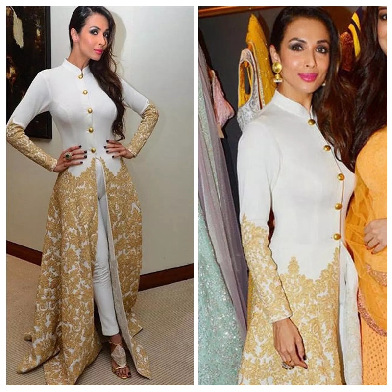 2019 Evening Gowns Long Sleeves High Neck Caftan With Pants Gold Lace Appliques Malaika Arora Khan Arab Formal Kaften Prom Gowns