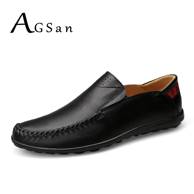 AGSan unisex genuine leather loafers men large size 10 10.5 11 slip on business shoes spring classic driving shoes black khaki new 2017 men s genuine leather casual shoes korean fashion style breathable male shoes men spring autumn slip on low top loafers