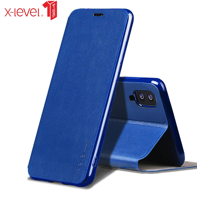 X-Level Book Leather <font><b>Flip</b></font> Cases For <font><b>Samsung</b></font> Galaxy M10 M20 A10 A20 A30 A40 <font><b>A50</b></font> A70 Ultra Thin Business Leather <font><b>Cover</b></font> image