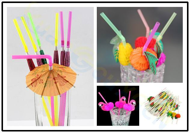 Disposable Cocktail Drinking Straws Wedding Hawaiian Flamingo Fruit Straw Decoration Beach Party Event Supplies
