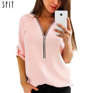 SFIT سستة قصيرة الأكمام النساء قمصان مثير V الرقبة الصلبة إمرأة قمم البلوزات عارضة المحملة بلايز أنثى الملابس زائد حجم 4XL