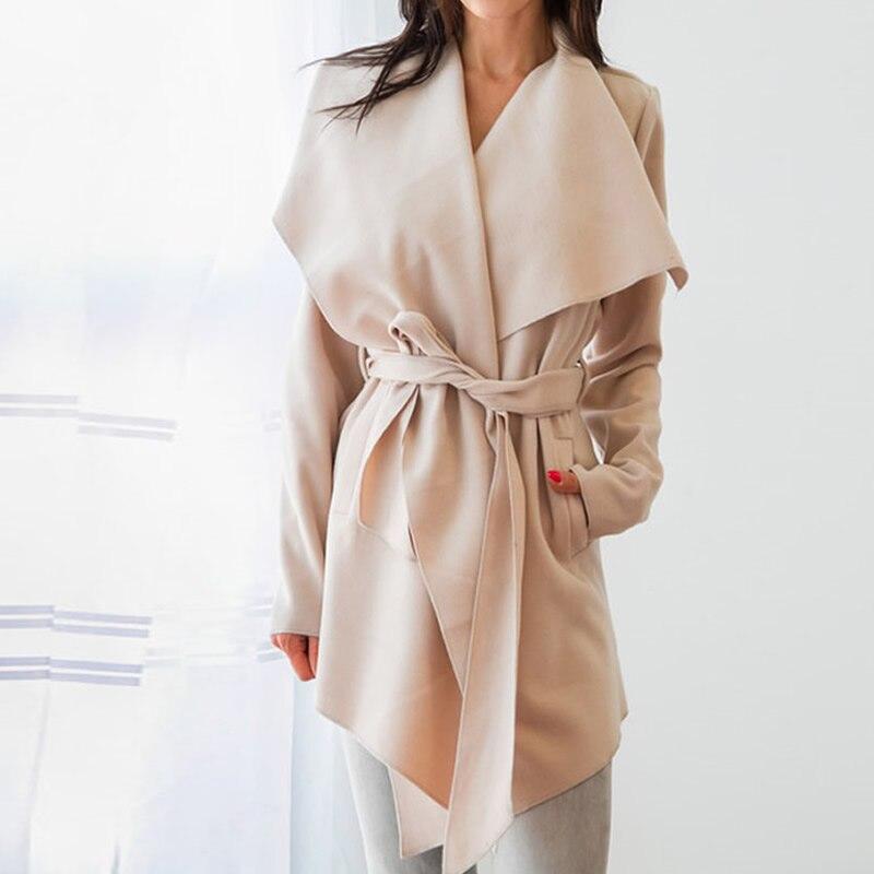 Fashion Lapel Belt Trench Coat Elegant Woolen Overcoat Long Coat Outerwear 2018 Spring Autumn Casual Windbreaker Cardigan Coats