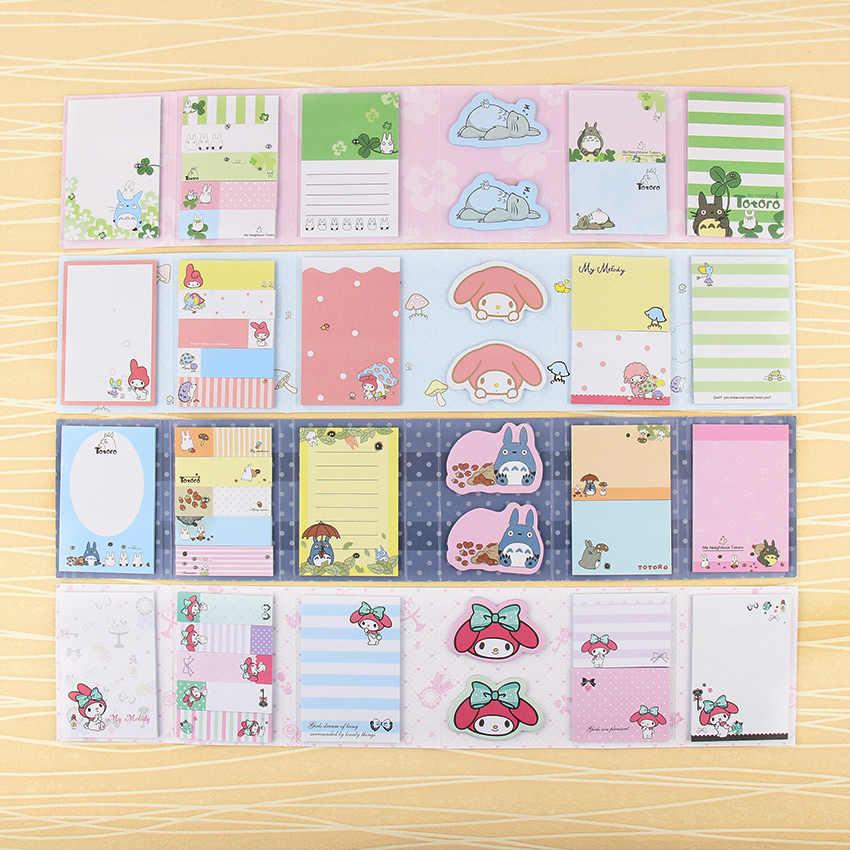 1 pieza Kawaii Totoro Linda melodía 6 almohadillas de notas plegables notas adhesivas N veces publicado papelería de regalo