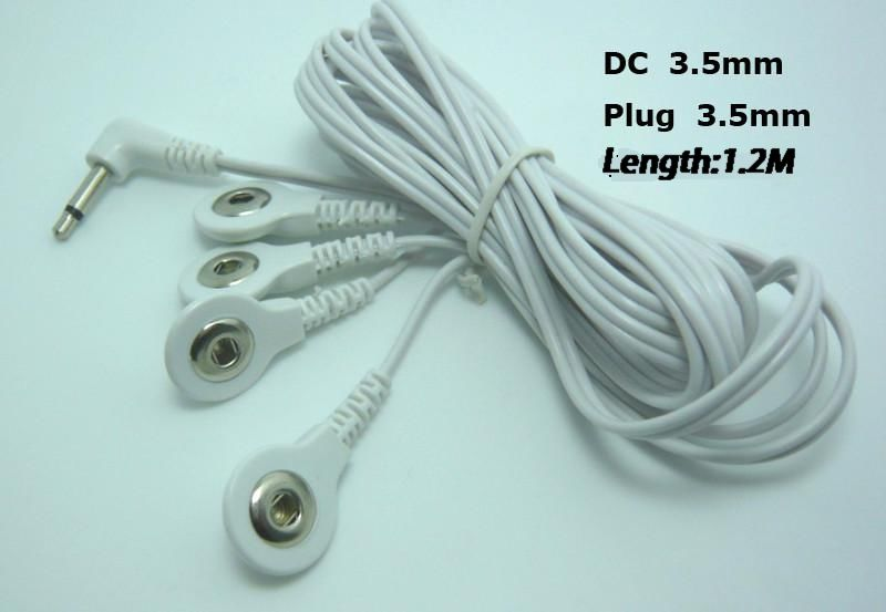 50pcs lot DC3 5MM line Button 4 in 1 way electrode wires cable for digital therapy