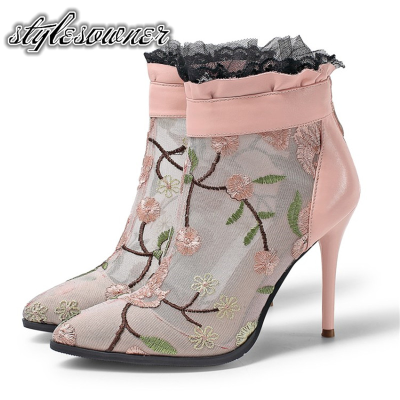 Stylesowner 2018 New Designer Spring Real Leather Mesh Ankle Boots Super High Heels Thin Heels Pointed Toe Sweet Woman Boots