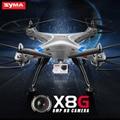 Syma x8g drone rc quadcopter rtf helicóptero del rc 2.4g 4ch 6 ejes Con Cámara de 8MP HD Gran Angular 360 Grados de Rotación de la Plata Color