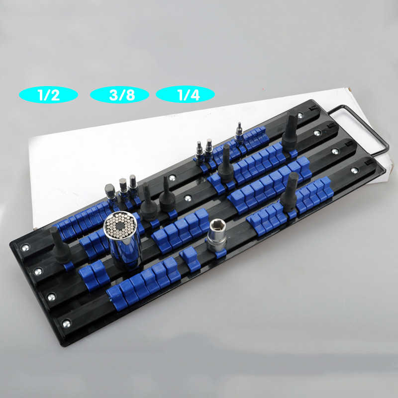 "80pcs Socket Rack Tray Holder Metal Rail for 1/4"" 3/8"" 1/2"" Drive Sets Tool Organizer Storage Socket Organizer Holder"