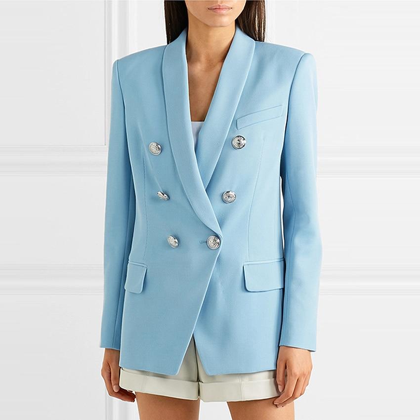 HIGH STREET Newest Fashion 2020 Baroque Designer Blazer Jacket Women's Shawl Collar Double Breasted Metal Lion Buttons Blazer