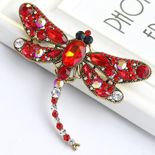 Fashion Crystal Dragonfly Large Brooch Pins Luxury Party Banquet Costume Decoration Accessories Women Vintage Jewelry XZ346