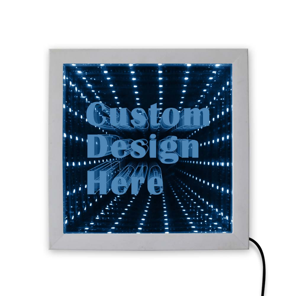 Custom Image Logo Text LED Infinity Mirror Wood Frame Personalised LED Picture Frame Cool Infinite Led Tunnel Lamp Neon Sign