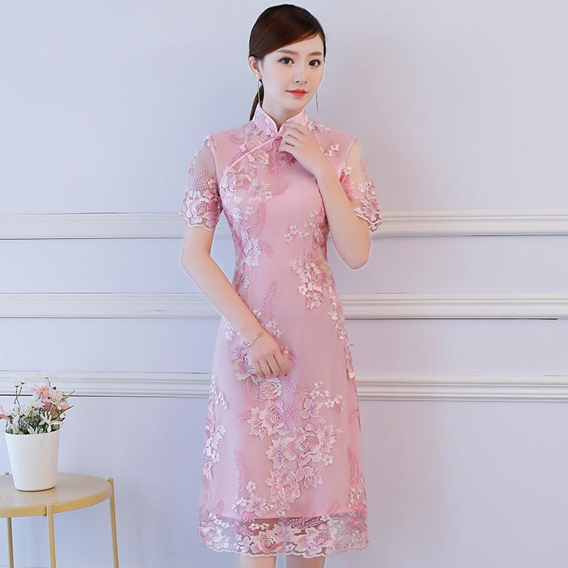 Noble Lady Sky Blue Bridesmaid Wedding Dress Elegant Flower Qipao Traditional Chinese Women Mandarin Collar Cheongsam Vestidos