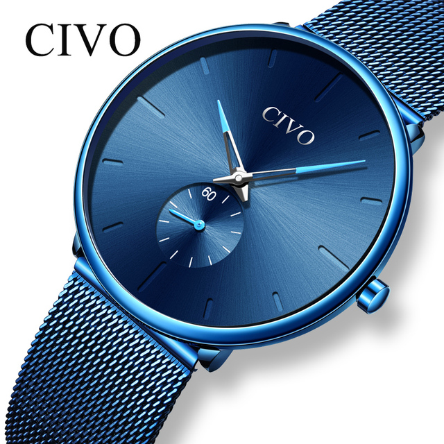 CIVO Mens Watches Top Brand Luxury Quartz Man Watch 2019 Fashion Mesh Steel Strap Waterproof Sport Watch Clock Relogio Masculino