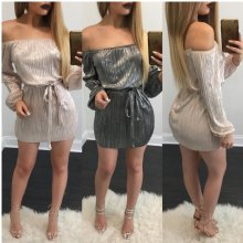 2017 Mata Kwankwaso Sleeve Mini Dress Sexy Nightclub Lady Bodycon Party Dresses Tare da Belt Female Shirye-shirye Hip Dress Vestidos