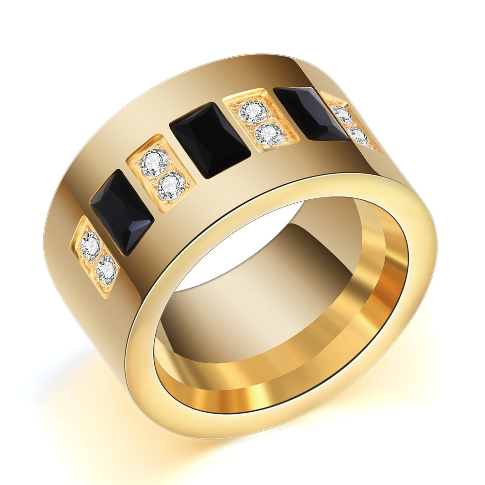 Fashion Gold Color 316L Stainless Steel Wedding Ring With Black and - Fashion Jewelry - Photo 2