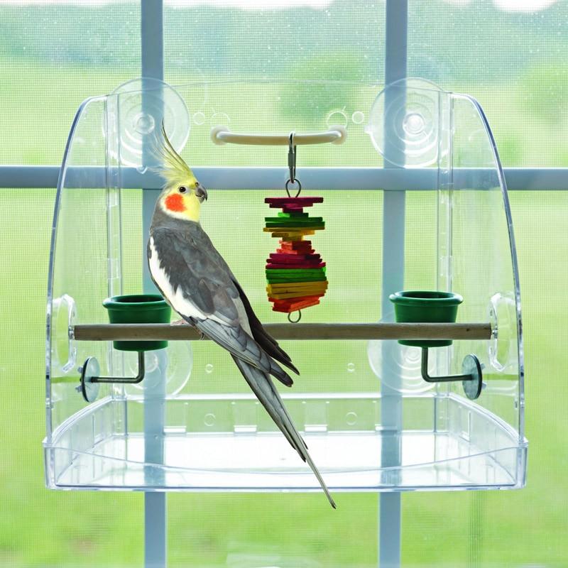 CAITEC Parrot Toy Bird Window Play Center Open Design Tough Durable Bite Resistant Suitable for Small