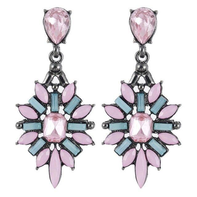 H01 Design Crystal Water Drop Earrings Fashion Jewelry For Women Black Blue Rhin