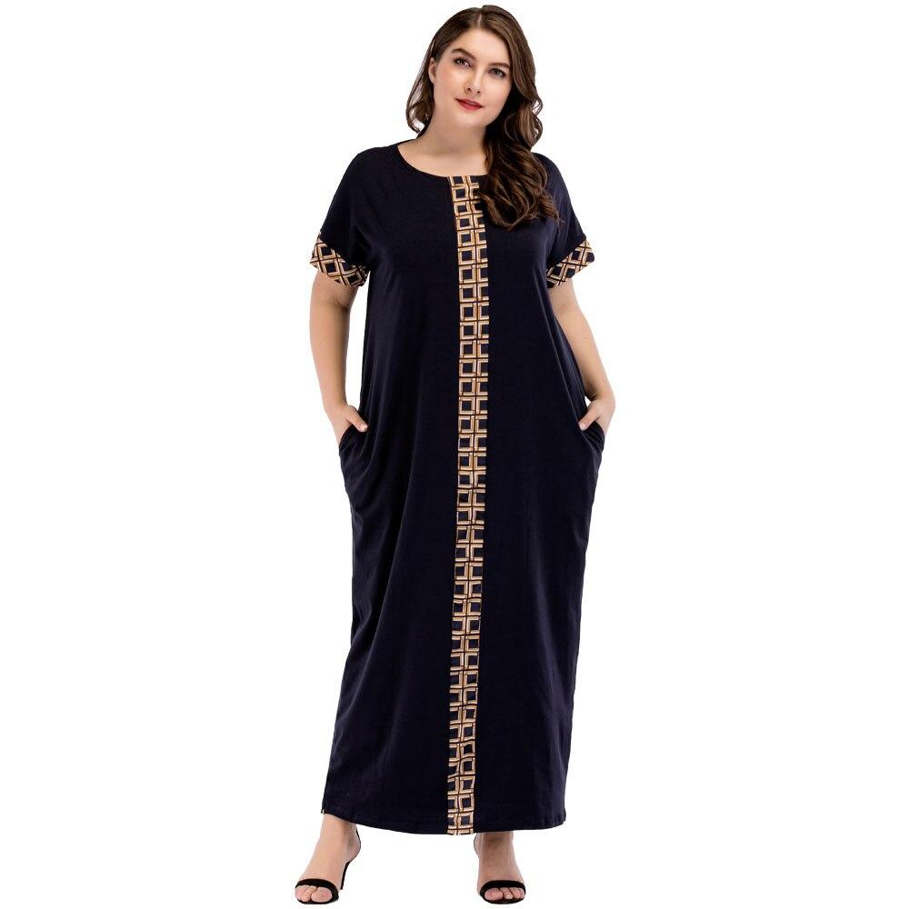 Siskakia femmes vintage imprimer patchwork maxi longue robe D'été 2018 plus la taille T shirt robes 3XL 4XL caftan vêtements Marine bleu