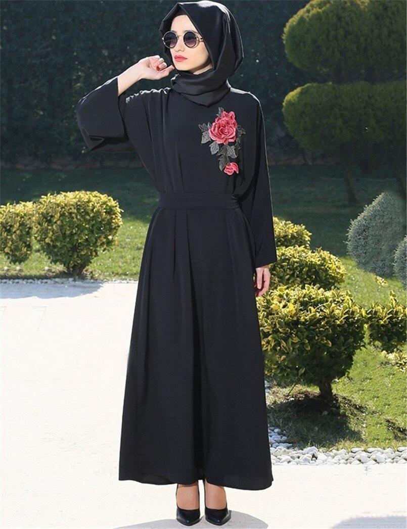A022 Embroidery Chiffon With Belt Muslim Lady Long Dress