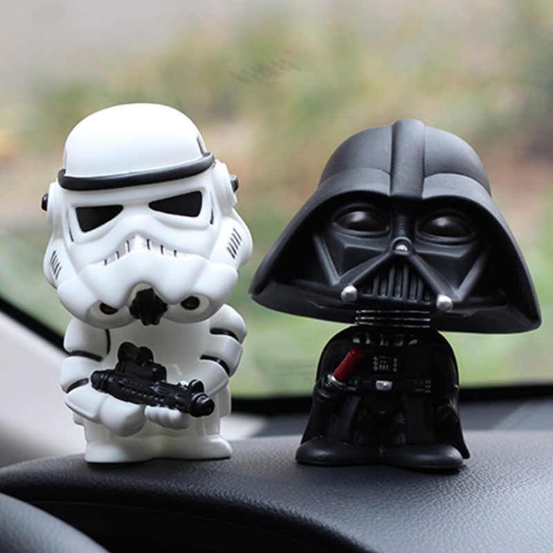 Mobil Ornamen Mini Hitam Darth Vader Putih Stormtrooper Model Star Wars Action Figure Boneka Mobil Interior Auto Dekorasi Hadiah