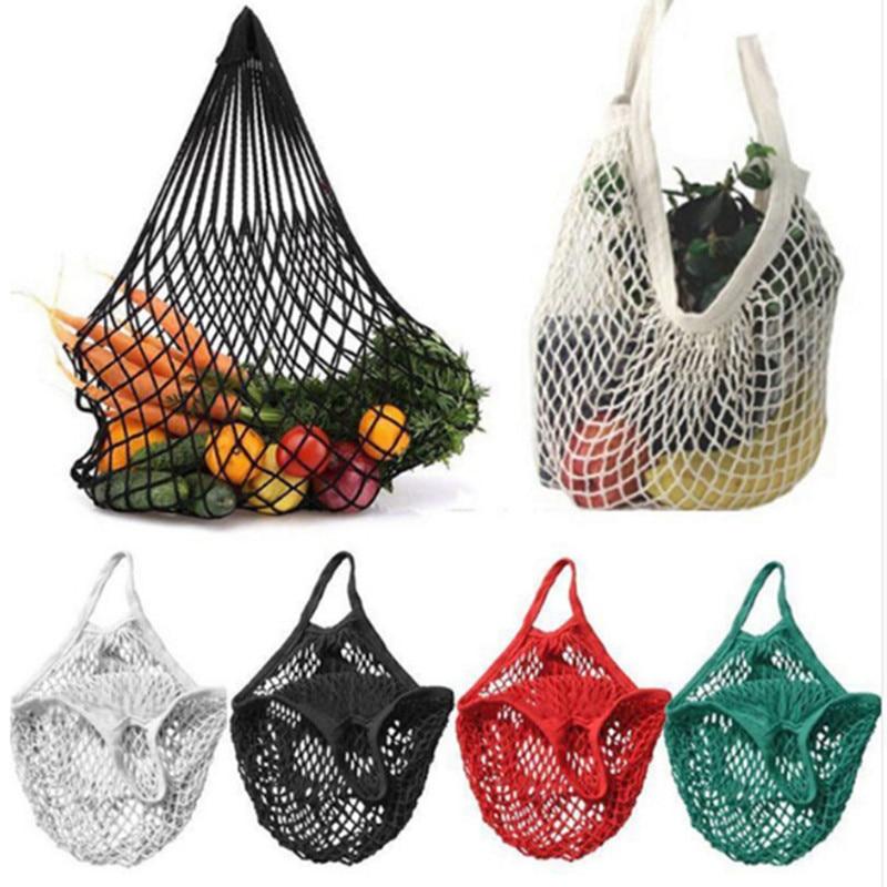 Reutilizable Tienda de comestibles Hacer bolsas Algodón Ecología Rejilla Mercado Fila Compras Limpia Cocina Verduras Frutas Bolsa para colgar