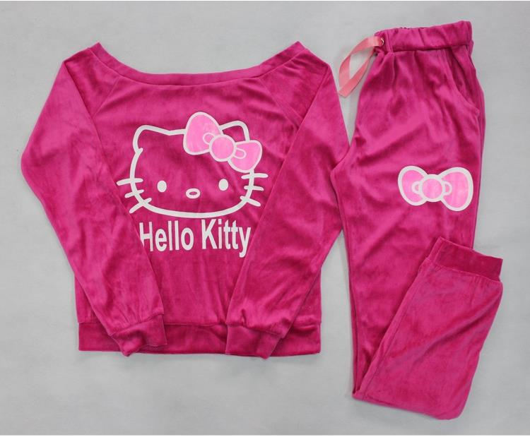 ca077c6ca 2015 New Women Hello Kitty Printed Velvet Sweatshirts 2pcs/Sets Hoodies  Pullover,Sportsuit Women,Tracksuits sweatshirt and pant-in Hoodies &  Sweatshirts ...