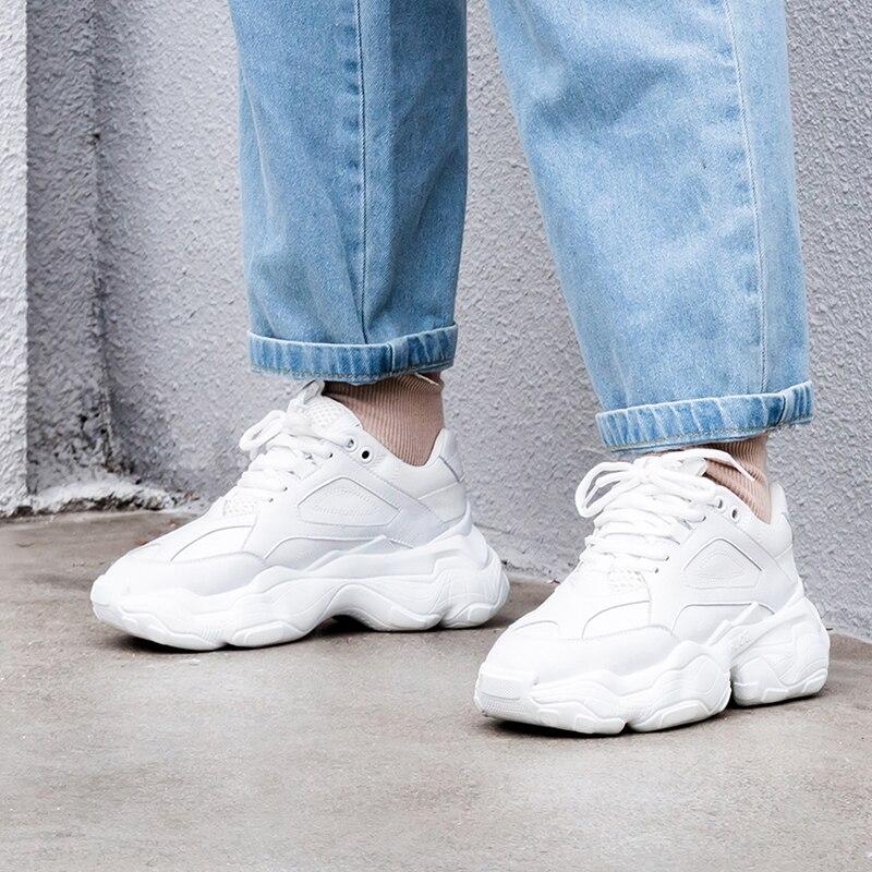 Basket Femme Sneakers Femmes En Cuir Blanc Casual Chaussures De Mode Plate-Forme 2019 INDACO 6 cm 35-42