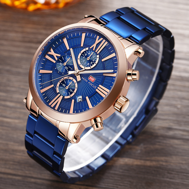 MINI FOCUS Top Brand Luxury Quartz Watch Men 3 Subdial 6 Hands Chronograph Date Fashion Blue Wristwatches Man Waterproof Clock