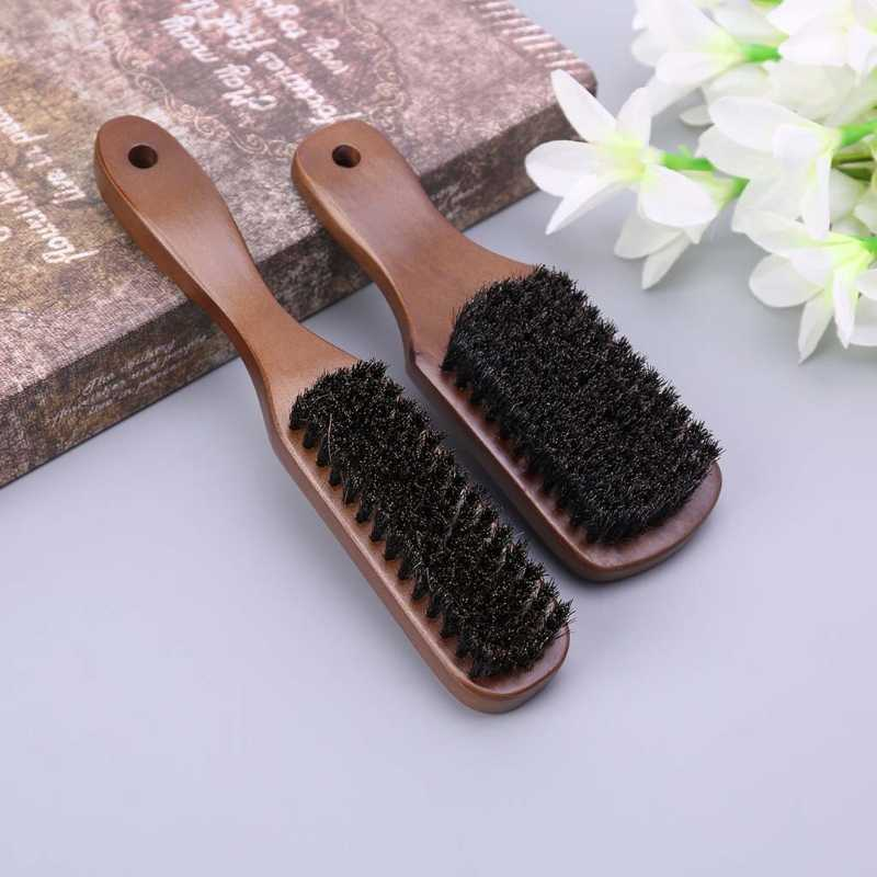 Men Boar Bristle Mustache Brush Wood Handle Comb Facial Beard Cleaning Styling