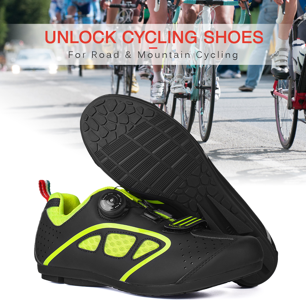 Lock-Free Cycling Shoes Men Road Bike Unlock Rotating Buckle Sneakers with Non-slip Rubber Sole