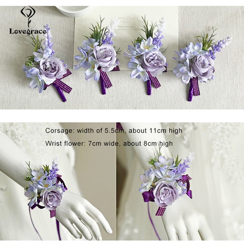 Lovegrace Charm Bracelets Wrist Corsage Bridesmaid Groom Boutonniere Artificial Flower Lapel Pin Brooch For Men Fashion Wedding