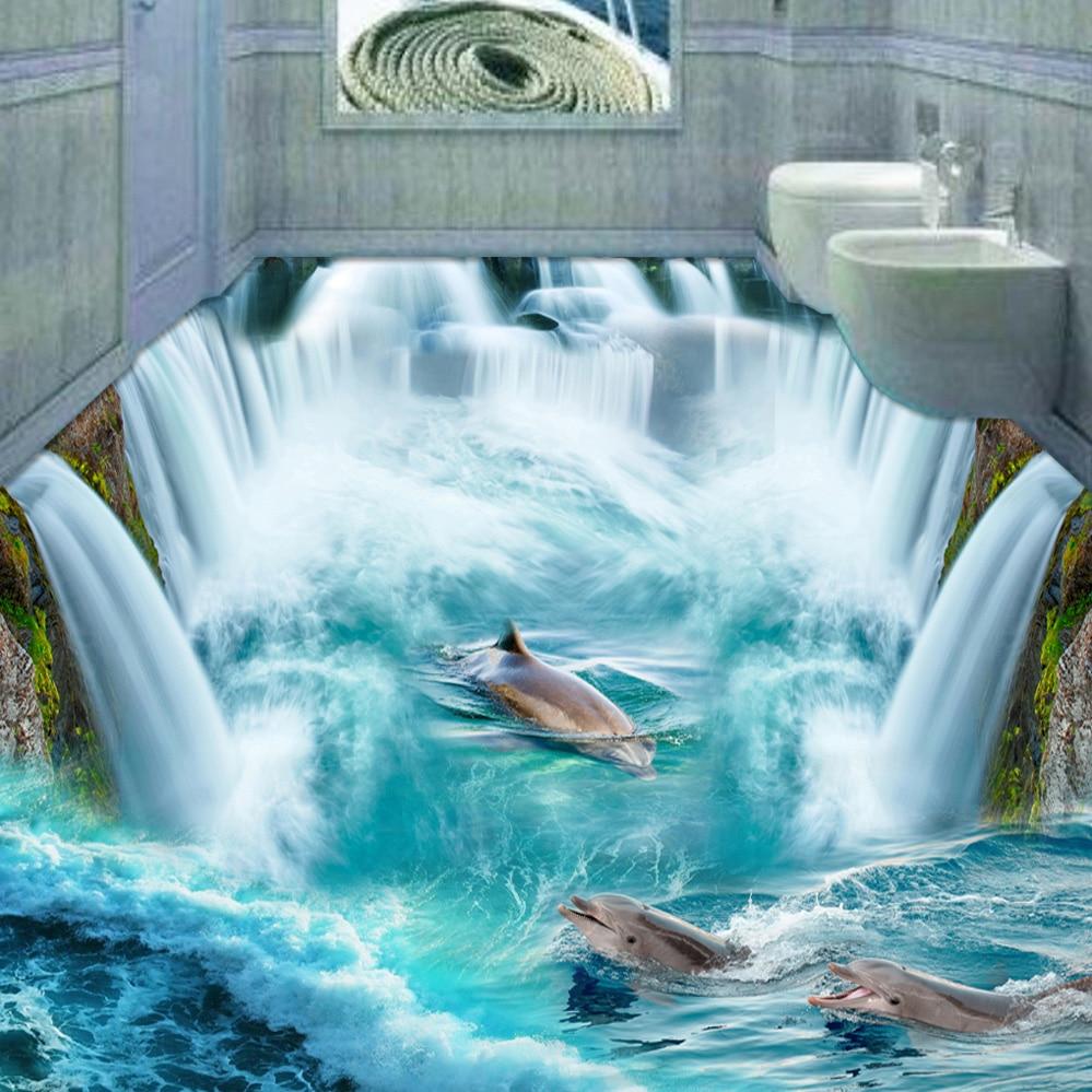 Custom 3D Flooring Mural Wallpaper Stereoscopic Dolphin Waterfall Floor Sticker Painting Bathroom Floor Decor Vinyl Wallpaper