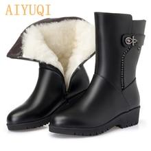 AIYUQI Women winter snow boots 2019 genuine leather women flat boots big size Australia thick wool lady Martin boots shoes цена и фото