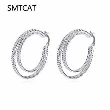 Два круга креольские серьги-кольца для женщин Стерлинговое серебро круглые серьги Brinco de Prata Европейская мода ювелирные изделия аксессуары