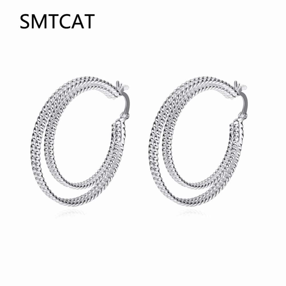 Two Circles Creole Hoop Earring for Women Sterling Silver Round Earring Brinco de Prata European Fashion Jewelry Accessories
