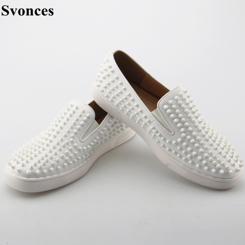 a65599b96ff2 Italian Fashion Svonces Designer Boat Spikes Flats For Men Low Top Casual  Shoes Movie Super Stars Slip on Men Loafers Shoes-in Men s Casual Shoes  from Shoes ...