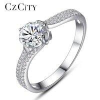 CZCITY Lujo Tiny CZ pavimentado de Un Quilate anillo de Compromiso Circón Clásico de La Vendimia 925 Anillo de Plata Anillo de dedo para Las Mujeres Femeninas regalo