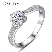 CZCITY Luxury Tiny CZ Paved with One Carat Zircon Engagement Finger Ring for Women Female Classic